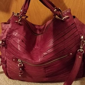 22e5e9b5e3 Junior Drake Bags -   Junior Drake Gail Cranberry Pleated Leather Tote